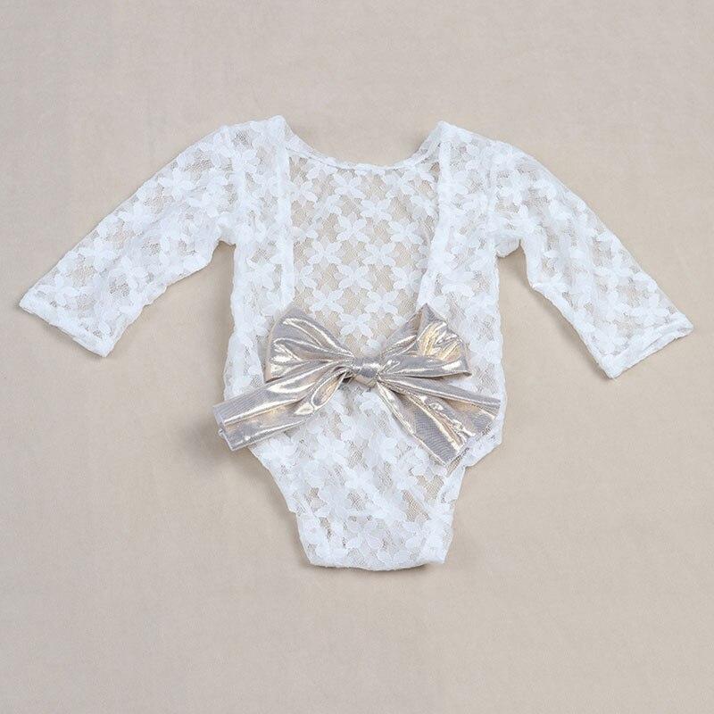 Branco Recém-nascido Fotografia Adereços Menina Romper Do Laço Do Bebê com Arco Infantil Macacão Roupa Da Menina Do Bebê para New Born