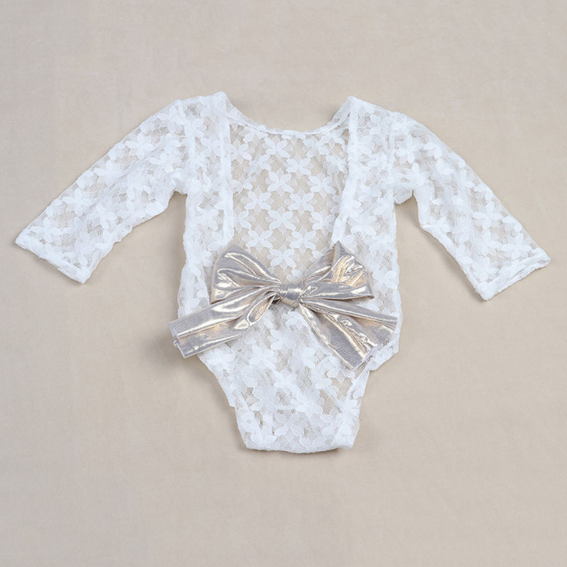 White Newborn Photography Props Baby Girl Lace Romper with Bow Infant Jumpsuit