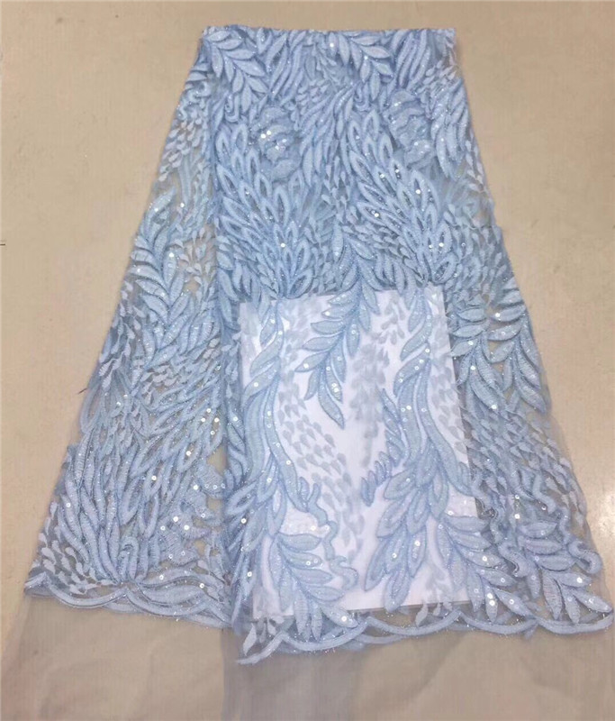 2018 High Quality African Lace Fabric Royal Blue French Net Embroidery Sequins Tulle 3d Lace Fabric