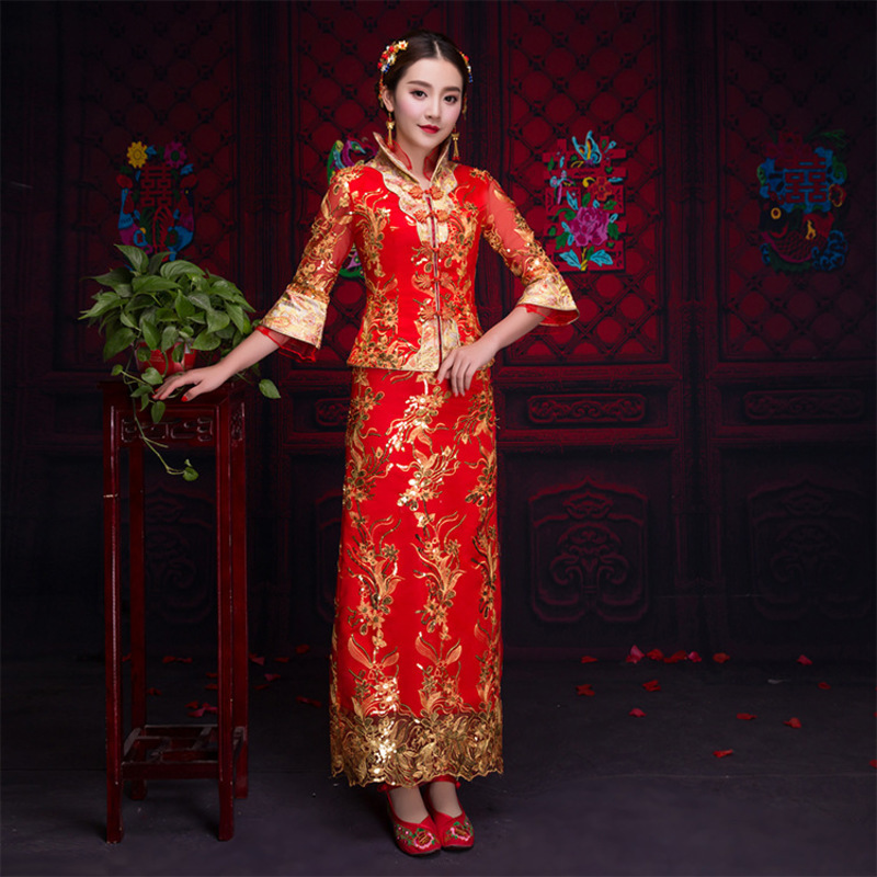 Red Traditional Chinese Clothing Women Tradition Ladies Embroidery Cheongsam Qipao Wedding Oriental Evening Dress Robe in Cheongsams from Novelty Special Use