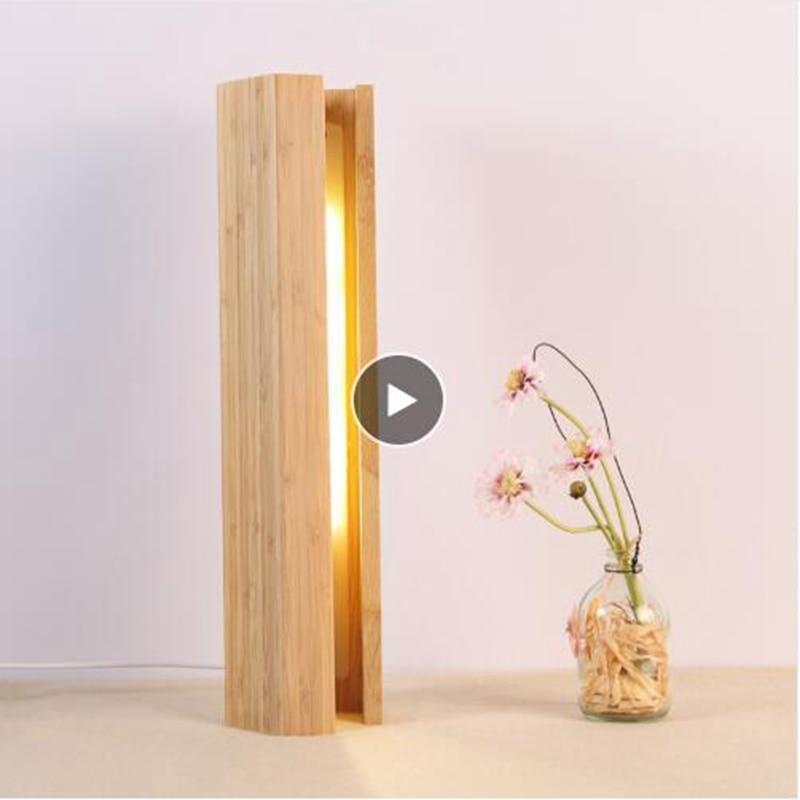 >LukLoy Creative Home Wooden Pentagonal <font><b>Table</b></font> <font><b>Lamp</b></font> Bedroom LED Bedside <font><b>Lamp</b></font> Hotel Restaurant Bamboo <font><b>Decoration</b></font> Small Night Light