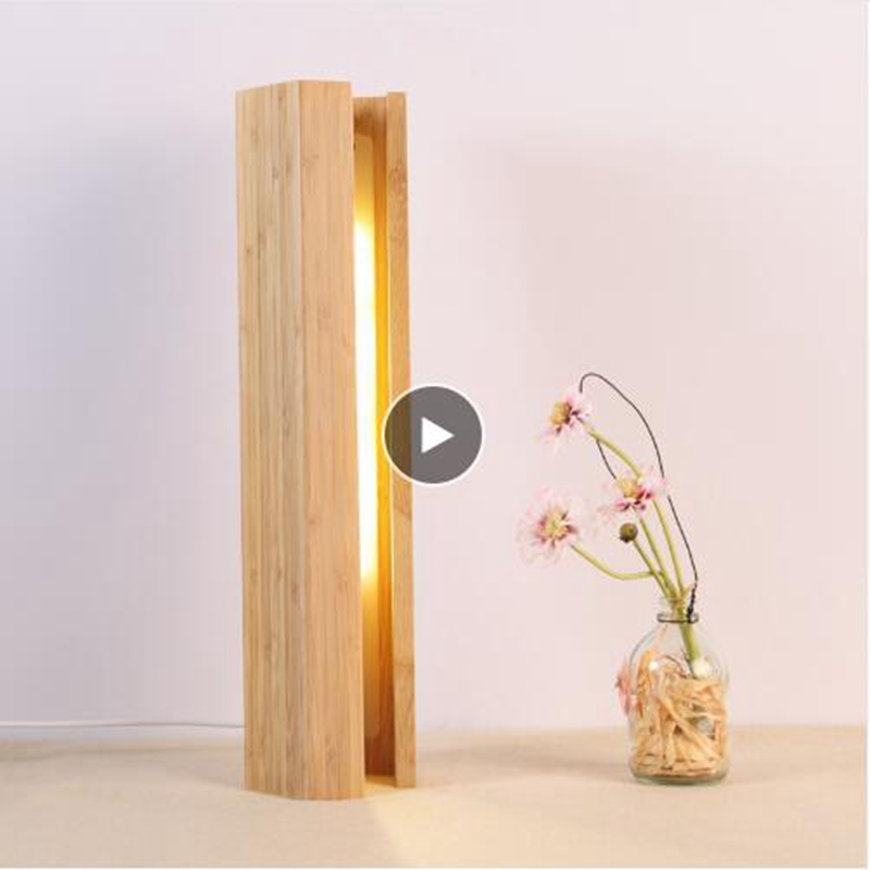 LukLoy, lámpara de mesa Pentagonal creativa para el hogar, de madera, para dormitorio, lámpara LED para cabecera, Hotel, restaurante, decoración de bambú, luz nocturna pequeña