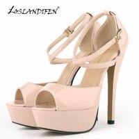 LOSLANDIFEN Kadınlar Pompalar Patent Deri Seksi Stiletto Yüksek Topuklar Ayakkabı Açık Burun Strappy Platformu Bayanlar Parti Pompaları 14 cm 817-8 PA