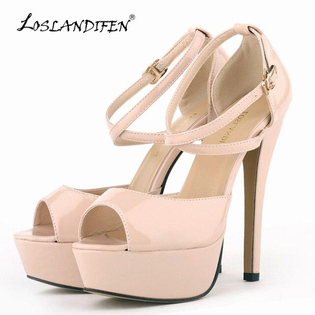f6a610fea2e7b LOSLANDIFEN Women Pumps Patent Leather Sexy Stiletto High Heels Shoes Open  Toe Strappy Platform Ladies Party Pumps 14cm 817-8PA