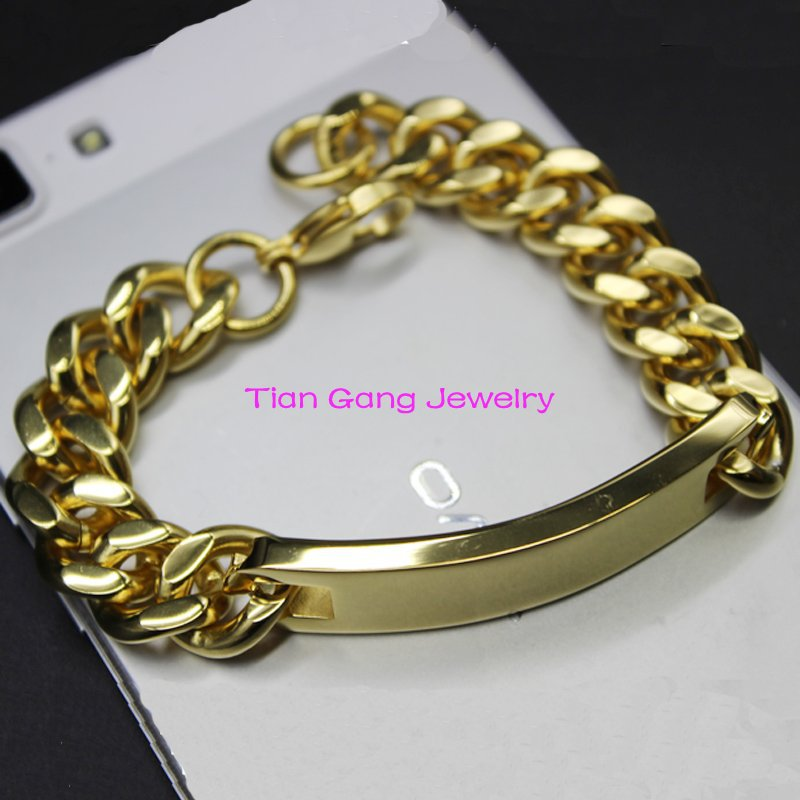Free Shipping 2015 New Gift Mens ID Bracelet Stainless Steel Gold Bracelets For Men 22cm*13.4mm High Quality