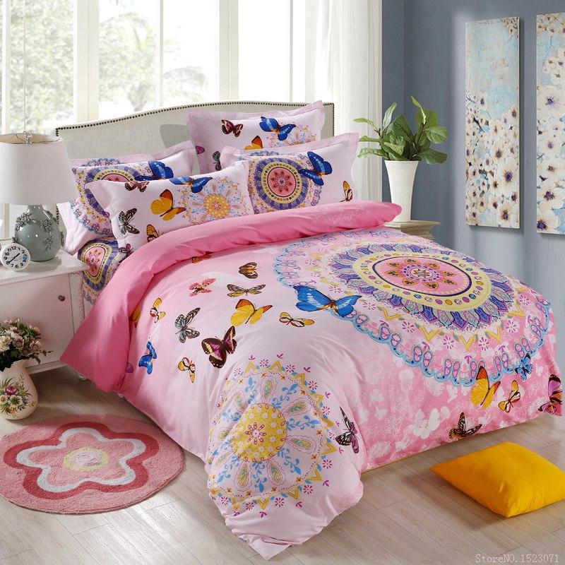 bohemian boho style pink butterfly bedding set girls blue
