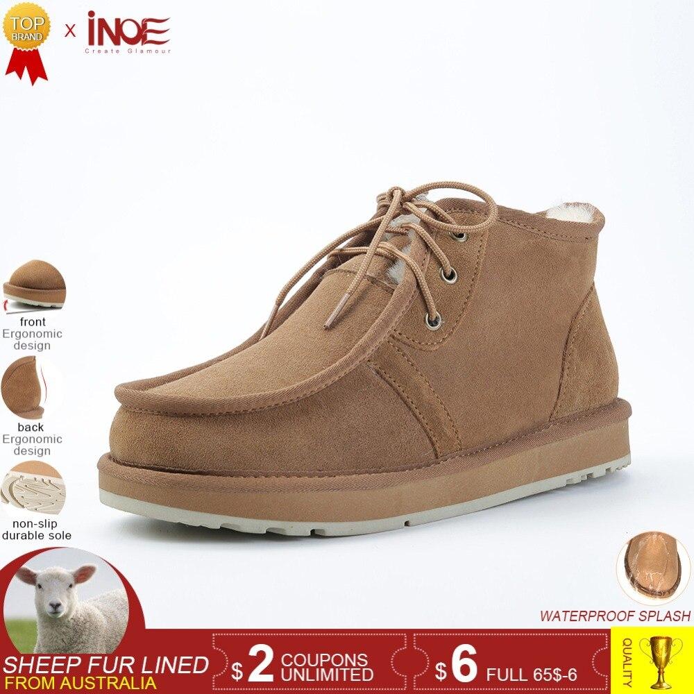 INOE Beckham même style hommes hiver neige bottes en peau de mouton en cuir d'hiver chaussures laine doublé de fourrure homme d'hiver chaussures de haute qualité 34-44