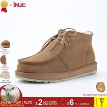 INOE Beckham same style men winter snow boots sheepskin leather winter shoes wool fur lined man winter shoes high quality 34-44