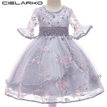 f7b4fe0b7 Cielarko moda niñas vestido de fiesta flor princesa vestidos elegantes gris  Rosa nuevo diseño niños vestido ropa para 2- 11 años