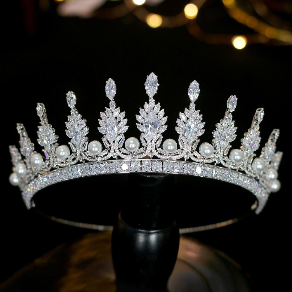 Brillante princesa simple tiara corona cristal perla accesorios para el cabello de la boda de plata