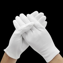 1 pair White Cotton Gloves Full Finger Men Women Waiters/dri