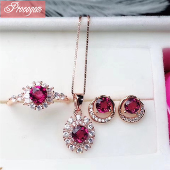 Natural Mozambique Pyrope Garnet jewelry sets for Ladies girls Genuine Gemstones with zircon Pendant Ring Earrings S925 silver
