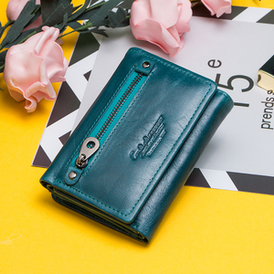 Image 2 - Contacts Women Wallets Clutch Coin Purse Woman Leather Genuine Leather Short Wallet Zipper Card Holder Money Bag For Girls