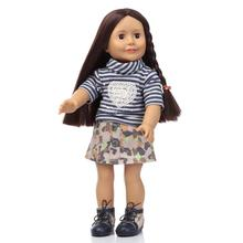 Fashion American Girl Doll Toys Girl Birthday Gift Brinquedos 18″ Play Doll with Dark skin tone