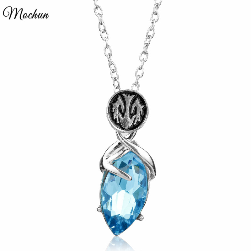 MQCHUN 2017 Hot Online Game Jewelry Final Fantasy YUNA Necklace Blue Crystal Pendants Statement Necklace For Women Fashion Gifts