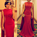 Dubai Vestido de Noche con la Longitud del Piso rojo Mantón de La Sirena Árabe Kaftan Vestidos de Noche de cola de Pescado Vestido de Fiesta Largo Con Cabo