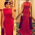 Dubai Vestido de Noite com Comprimento do Assoalho vermelho Xale Kaftan Árabe Vestidos De Noite Fishtail Da Sereia Longo Prom Vestido Com Capa