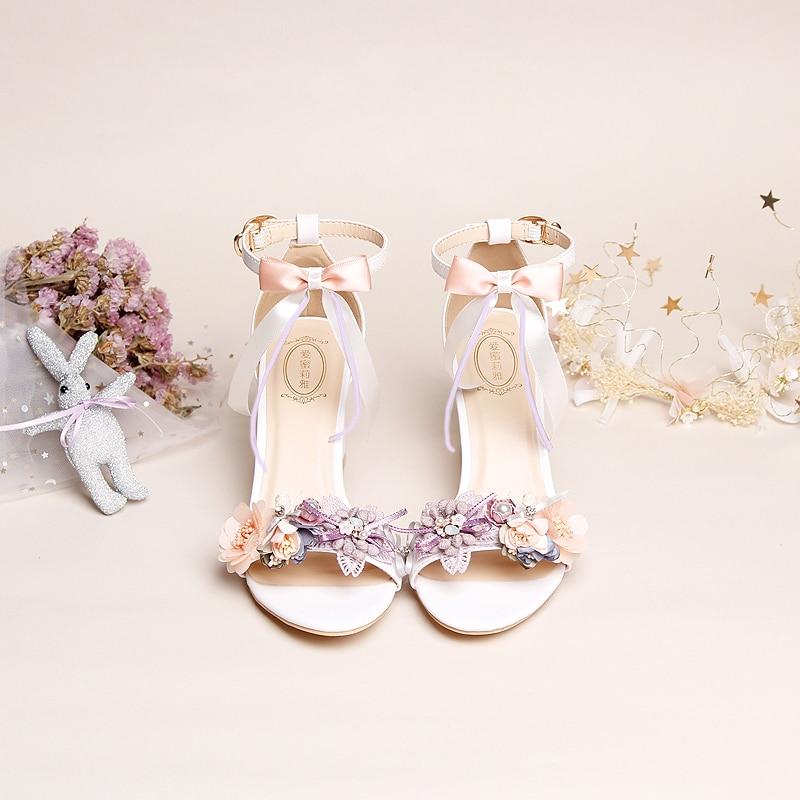 Sandales femme 2019 nouveau Design mode fée Sweety fleur soie noeud sangle 7 cm haut carré bloc gros talons étudiants talon rugueux