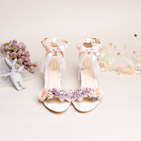 Sandals Female 2019 New Design Fashion Fairy Sweety Flower Silk Bow Strap 7cm High Square Block Fat Heels Students Rough heel