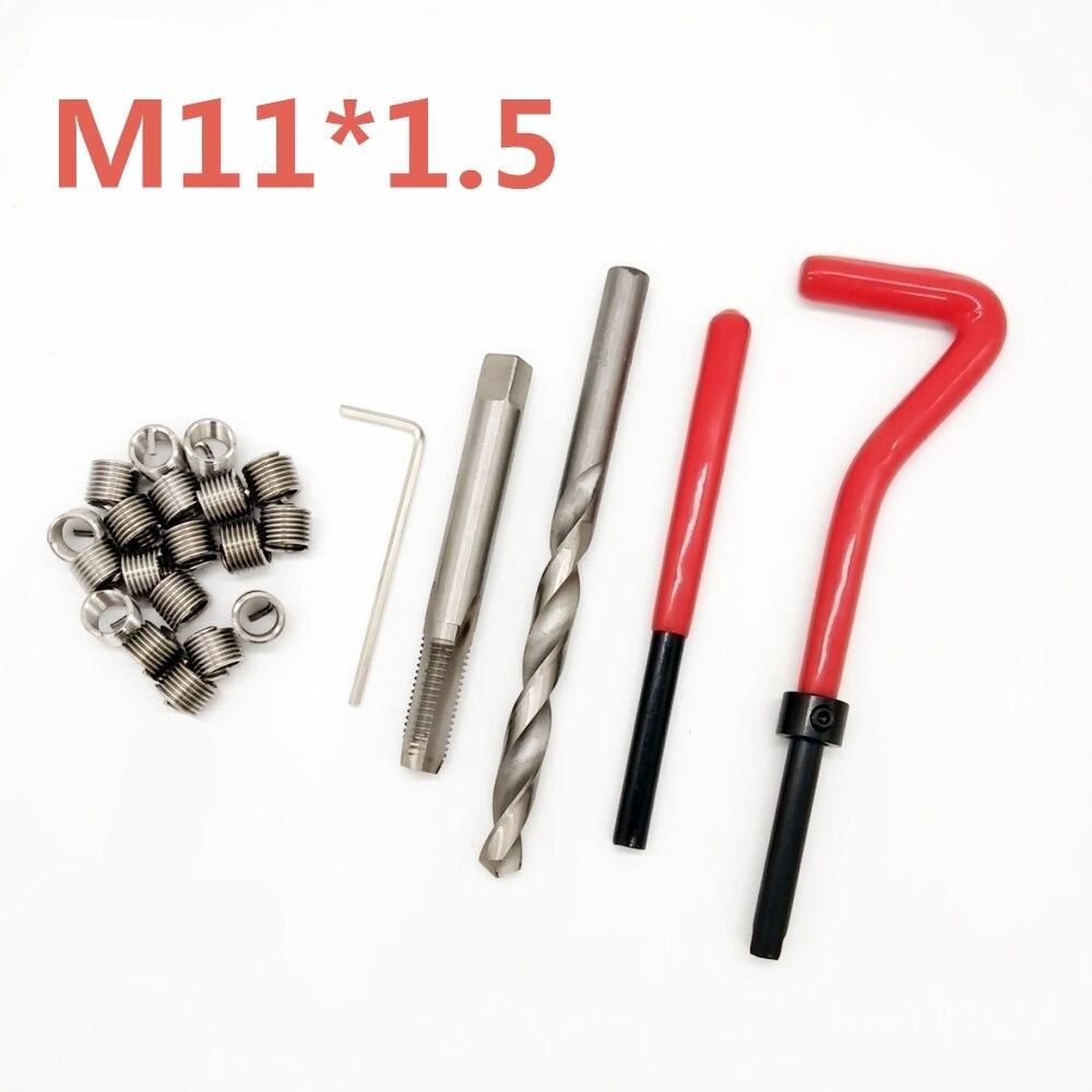 10 pcs Voiture Pro Bobine Forage Outil Filetage Métrique De Réparation Insérer Kit M11 pour Helicoil Outils De Réparation De Voiture Grossier Crowbar