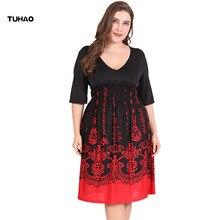 18b0febcdf963 TUHAO Sommer Kleid Plus Größe 6XL 5XL Arbeit Büro Kleid Schwarz ROT Sexy  Club Party Kleider
