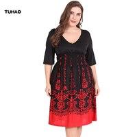TUHAO Summer Dress Plus Size 6XL 5XL Work Office Dress Black RED Sexy Club Party Dresses Womens Large Sizes Female Dress SJ07