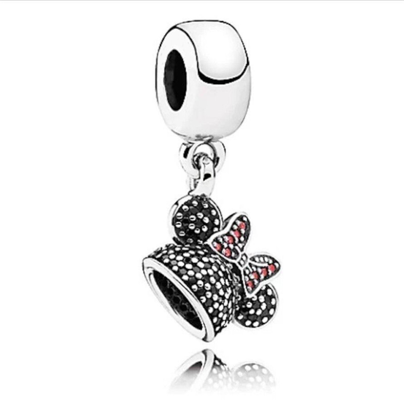 Park Exclusive Minnie Mouse Sparkling Ear Hat CZ Dangle Charm Beads 925 Sterling Silver Fit pandora charms silver 925 original