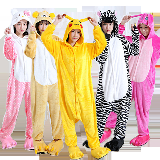 kids adult unicorn pajamas animal onesies children jumpsuits halloween costume dinosaur stitch pikachu cow totoro giraffe