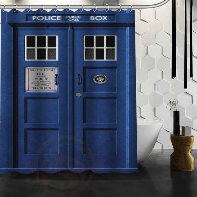 Custom Doctor Who Police Box Shower Curtain Bath Novelty Polyester Fabric Waterproof Hooks