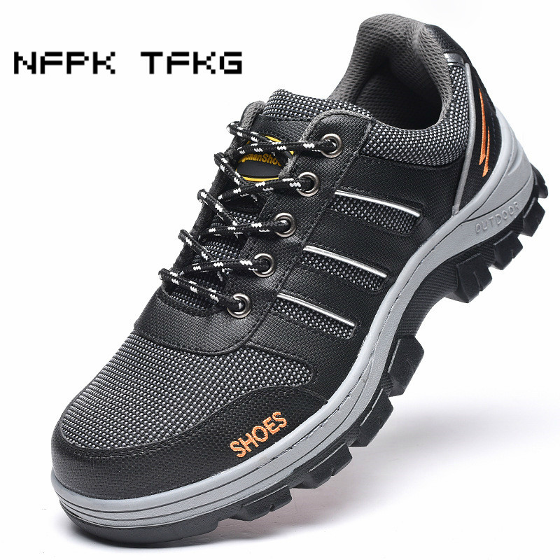 large size mens casual breathable steel toe cap work safety shoes anti-puncture construction site worker dress security boots все цены
