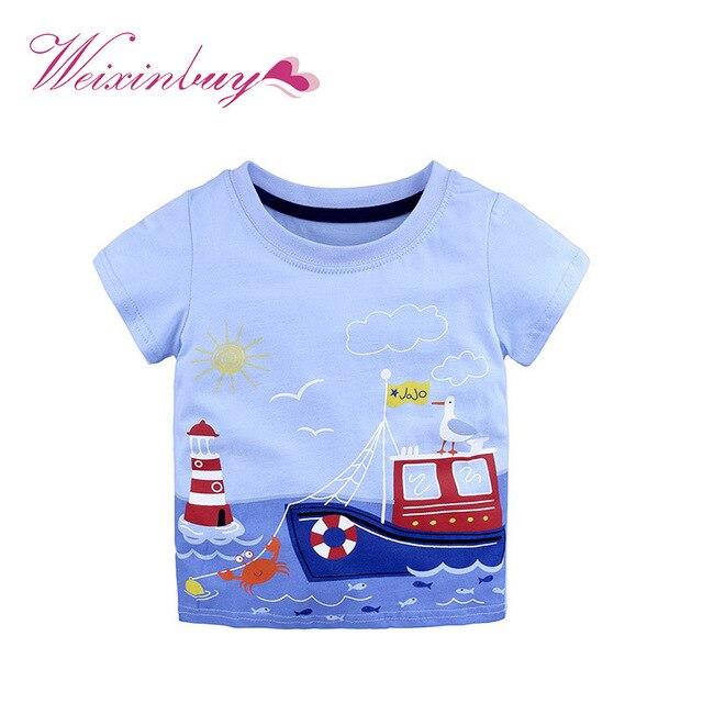 קיץ ילדי חולצה חולצות תינוק ילד כותנה קצר שרוול חולצות ילדי פס קריקטורה רכב בעלי החיים דפוס חולצה בגדים