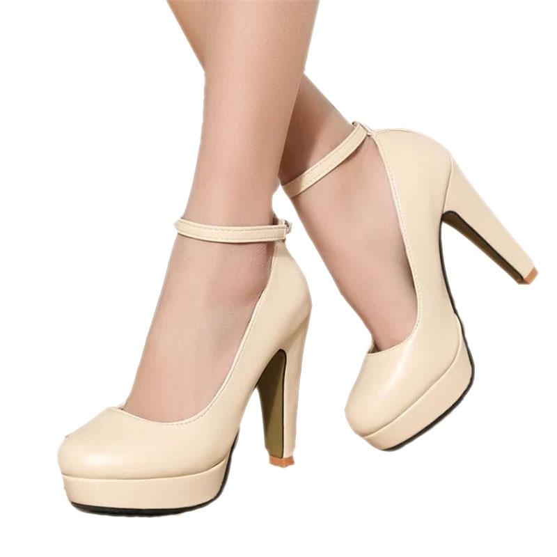 Gratis verzending 2018 lente zomer Pompen damesschoenen nieuwe Europese mode hoge hakken schoenen waterdicht bandage dikke met 10 cm