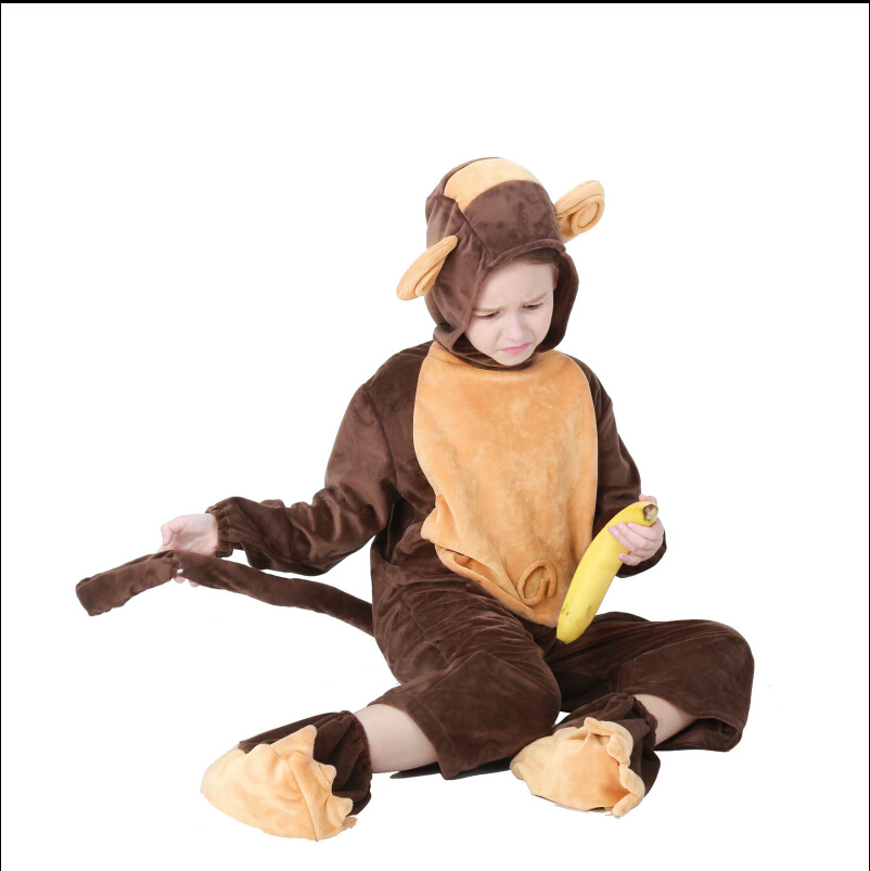 Women's Costumes Monkey Costume For Adult Men Jumpsuit Cute Warm Thick Cosplay Polyester Fleece Animal Clothes Halloween Carnival Costume