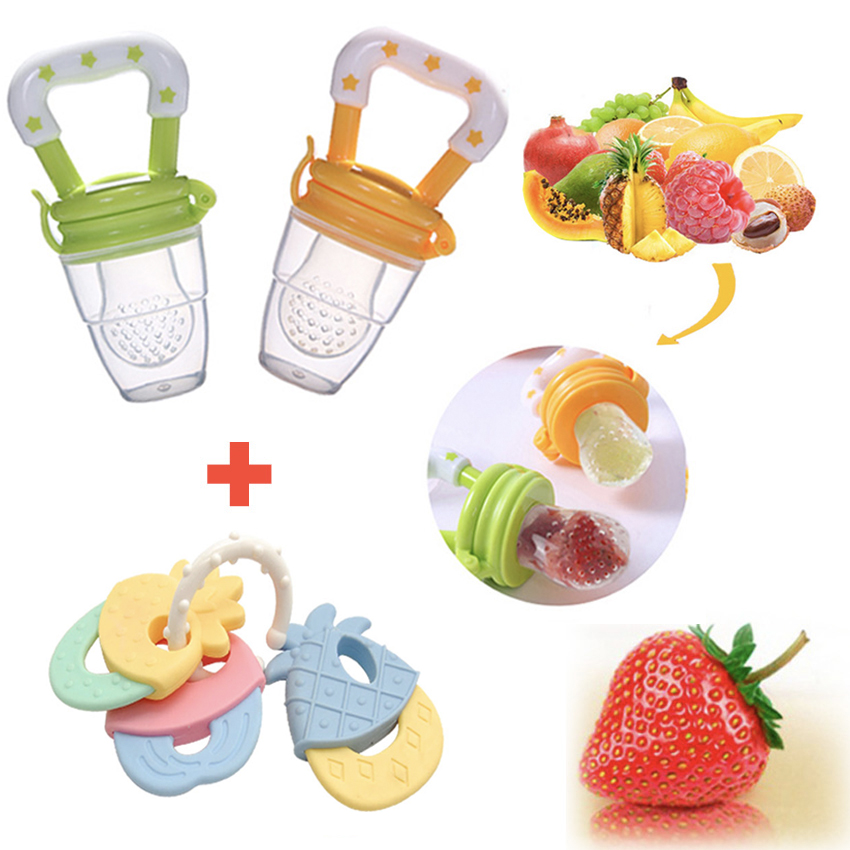 Baby Toys Safe Baby Teething Toys Fruit Food Feeder Baby Pacifier Feeding Bottles Tool Newborn Teether Kids Silicone Rattle Toy