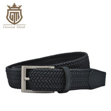 New elastic braided men's belts high quality woven belt brushed metal pin buckle stretch belt for jeans Brown Beige Blue Black(China)