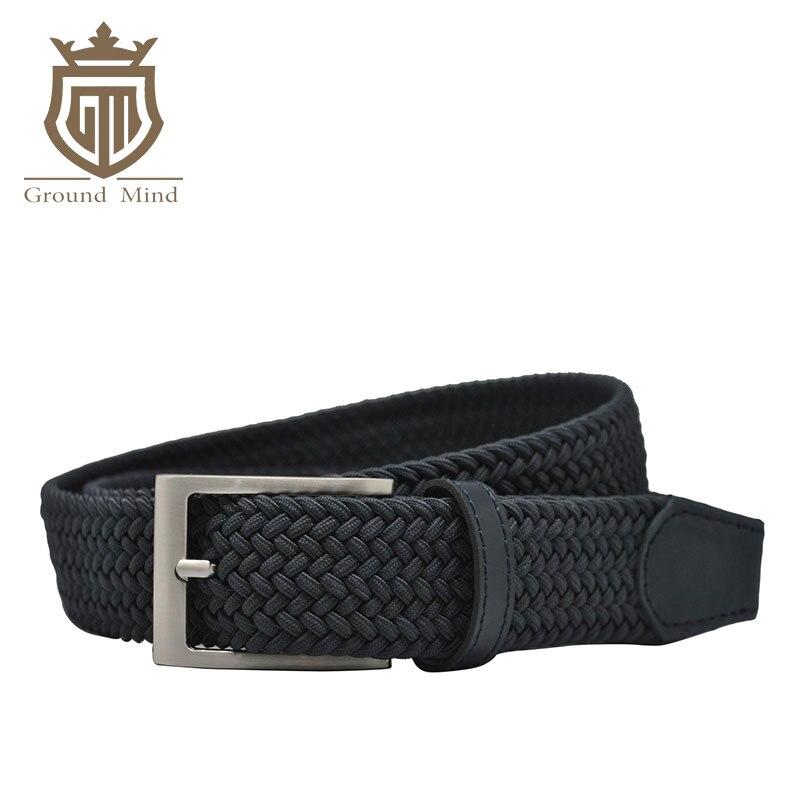 Nouveau élastique tressé hommes ceintures de haute qualité tissé ceinture brossé métal boucle ardillon stretch ceinture pour jeans Brun Beige bleu Noir