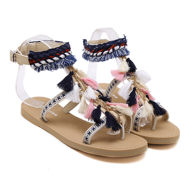 f0bf36e427ff8 Fashion Summer Shoes Women Beach Sandals Bohemia Tassels Flip Flops  Gladiator Women Flat Shoes Sandles Mujer Sweet Fringe Shoes