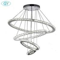 Large 73.5W LED Ring Chandelier D15cm+D30cm+D50cm+D70cm 4 Rings Crystal Chandelier Hall Luxury Lustre Lamp Industrial Lighting