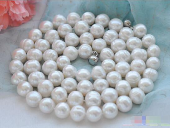 Hot sale new Style >>>>>32 14mm NATURE white round freshwater pearl necklaceHot sale new Style >>>>>32 14mm NATURE white round freshwater pearl necklace