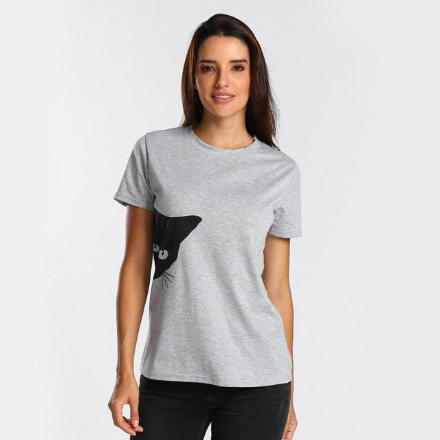 e91c44b0 Summer Black Women T shirt Sailor Moon Luna Cat Print Short Sleeve Tee Top  O Neck T-shirt for Women 5.4