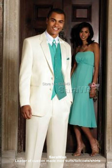 Custom Made Groom Tuxedo Bespoke Notch Lapel Mens Ivory Suits With Blue Vest Tailor Wedding For Men