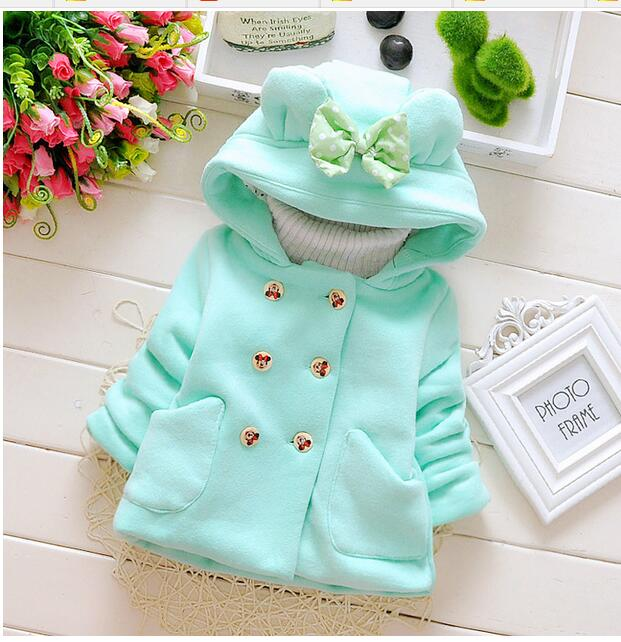 2016 new spring and autumn baby girl cotton coat thick double-breasted bow hooded jacket children 0-2 years brand free shipping
