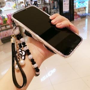 Image 5 - Para o iphone x 3d bling cristal capa para iphone 7/8 plus pérola kt gato diy caso de telefone para iphone xsmax 6 splus luxo fundas