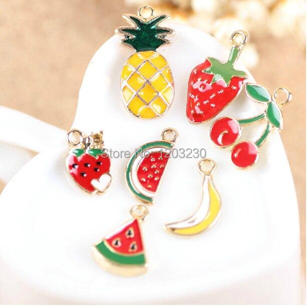 diy jewelry making 50pcs/lot alloy drop oil fruit style cartoon Banana/watermelon/pineapple/cherry/strawberry pemdmats charms