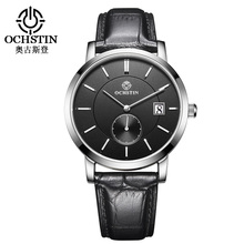 OCHSTIN Top Brand Fashion Mens Watch Leather Band Date 5ATM Sport Watches Men Casual Roman Scale