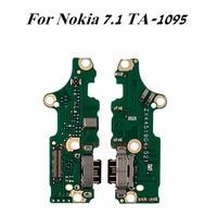 1 pçs original usb porto de carregamento doca + microfone cabo flexível para nokia 7.1 ta-1095 1095 carregador plug fone de ouvido jack substituição