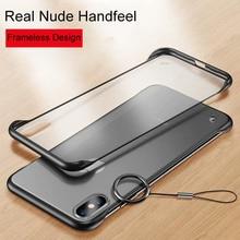 De lujo de diseño sin marco teléfono casos para iPhone 11 Pro X XR XS Max anillo Scrub dura cubierta de la PC para el iPhone 6 6s 7 8 Plus caso