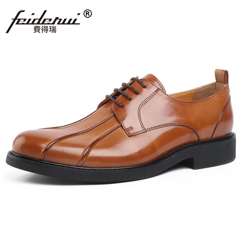 New Arrival Genuine Leather Men's Derby Flats Round Toe Laces Handmade Party Oxfords Formal Dress Man Platform Shoes JS225