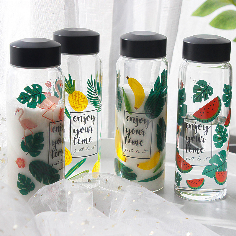 New Fashion Creative Flamingos Glass Water Bottle Pineapple Banana Watermelon Women Office Portable Drinking Bottles Gift|Water Bottles| |  - AliExpress