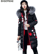 2017New Winter Women Fashion Warm Coat Hooded Thickening Big Yards High-end Eiderdown Cotton Double Sided Sweet Long Parka Q605